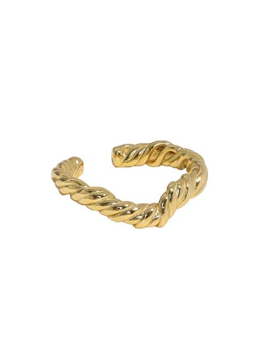 18K gold [No. 14 adjustable] 925 Sterling Silver Round Vintage Band Ring